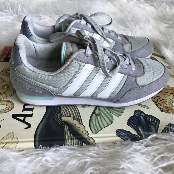 Adidas Neo Label gray canvas and suede sneakers